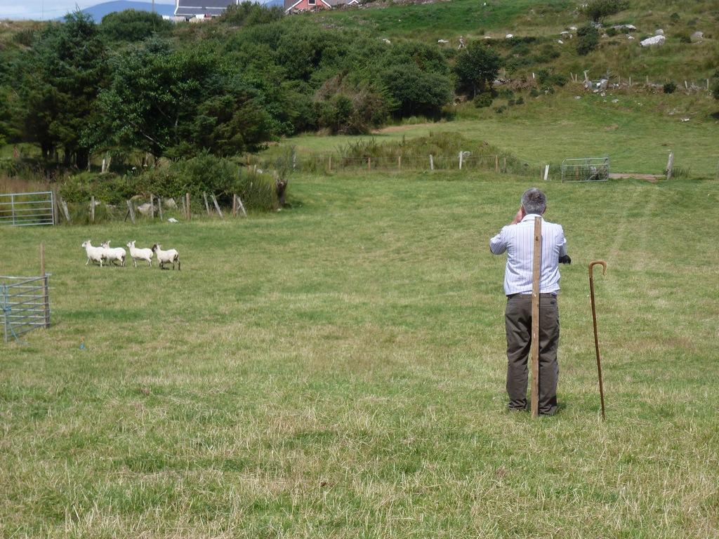 De boer moet het eerste deel bij de paal blijven staan.